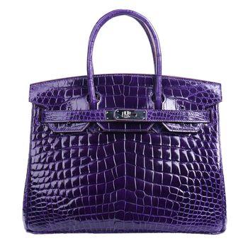 【M2nd】歐美名媛經典柏金鱷魚腹皮包30cm(時尚紫)