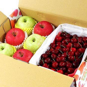 【鮮果日誌】雙星報喜蘋果櫻桃禮盒(富士3入+王林3入+櫻桃2.5台斤)