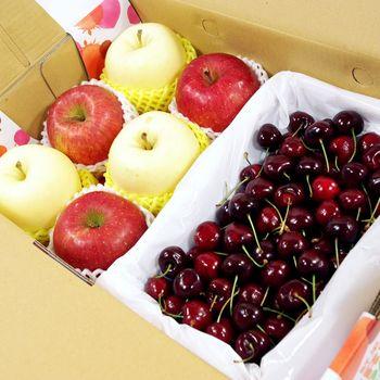 【鮮果日誌】金紅招財蘋果櫻桃禮盒(金星3入+蜜蘋果3入+櫻桃2.5台斤)