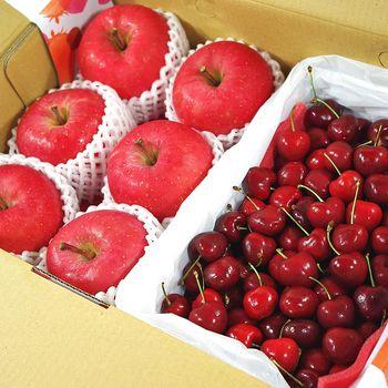 【鮮果日誌】富貴禮讚櫻桃禮盒(富士蘋果6入+櫻桃2.5台斤)
