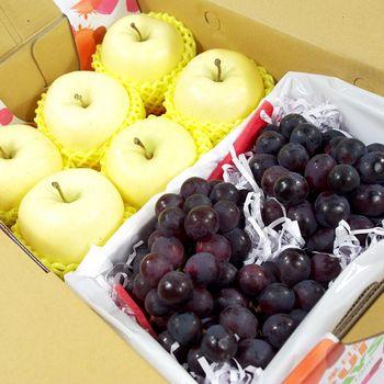 【鮮果日誌】金蘋禮讚葡萄禮盒(金星蘋果6入+巨峰葡萄2.5台斤)