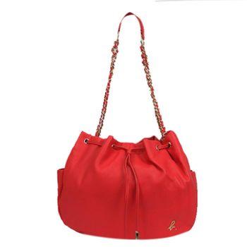 agnes b 鍊帶束繩皮革水桶包(大/紅)