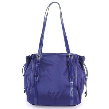 agnes b.琺瑯扣飾束帶三層肩背包 (小/紫)