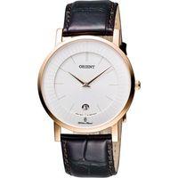 ORIENT 紳士都會薄型錶殼腕錶-銀x咖啡/38mm FGW0100CW