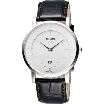 ORIENT 紳士都會薄型錶殼腕錶-銀x咖啡/38mm FGW0100AW