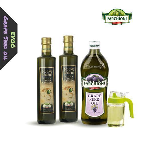 【健康食用油組】法奇歐尼葡萄籽油+莊園級冷壓初榨橄欖油*2+贈送油壺