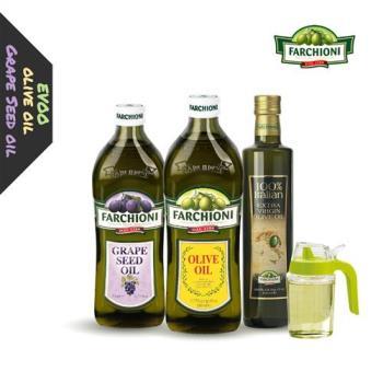 義大利法奇歐尼 葡萄籽油1公升+經典橄欖油1公升+莊園特級冷壓初榨橄欖油0.5公升