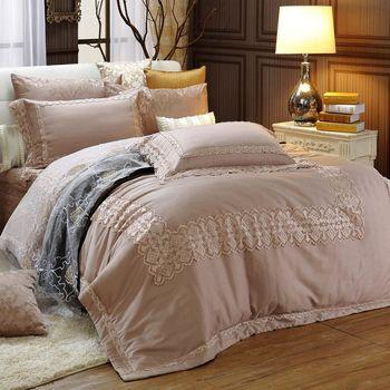 《HOYACASA奧莉薇》加大七件式300織精梳長絨棉可拆卸式兩用被床罩組