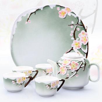 【Pure】梅花造型骨瓷茶具組6件組