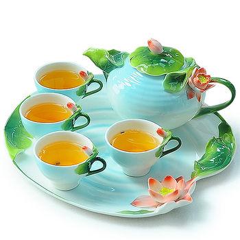 【Pure】荷花造型骨瓷茶具組6件組