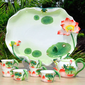 【Pure】荷塘月色茶陶瓷茶具8件組