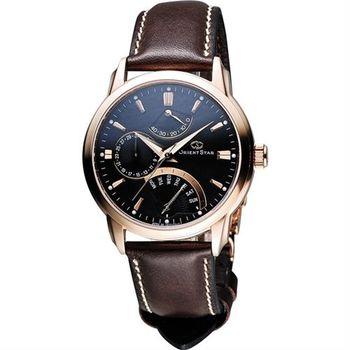 ORIENT 東方錶 RETROGRADE系列星期逆跳機械錶-黑x咖啡/40mm SDE00003B