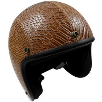 【金德恩】台灣製造 仿蛇紋皮革安全帽(咖啡) 3/4半罩式