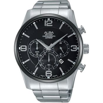 ALBA Prestige 街頭酷流行計時腕錶-黑/45mm VD53-X217D(AT3823X1)