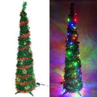 6尺/6呎(180cm) 彈簧摺疊綠色哈利葉瘦型鉛筆樹聖誕樹 (+LED100燈四彩光一串+紅系吊飾品組)