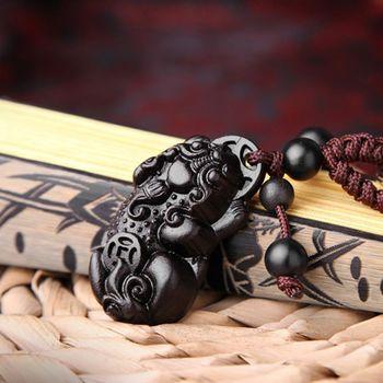 【十相自在】黑檀木雕刻招財進寶貔貅鑰匙圈-BWJ035