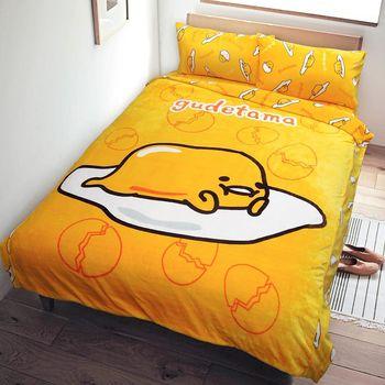 【享夢城堡】蛋黃哥 閒呀法蘭絨毯寢系列-雙人床包被套組