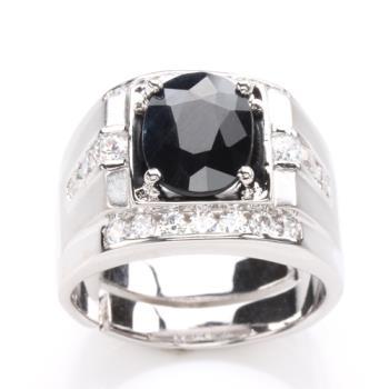 【寶石方塊】帝王將相天然3克拉黑藍寶石戒-活圍設計