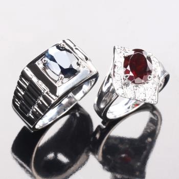 【寶石方塊】幸福相守天然2克拉黑藍寶石/2克拉紅榴石對戒