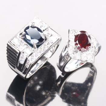 【寶石方塊】幸福溫度天然2克拉黑藍寶石/2克拉紅榴石對戒