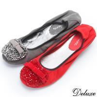【Deluxe】全真皮蘋果串珠蝴蝶結小厚底娃娃鞋(灰☆紅)-860-9B