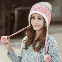 【幸福揚邑】雙吊球造型雙層保暖護耳小顏拚色毛球針織毛線帽-粉