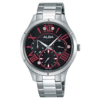 ALBA 限定羅馬戀人晶鑽女錶-黑x桃紅刻度/36mm VD75-X087D(AP6293X1)