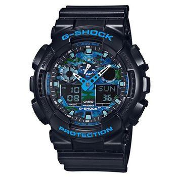 G-SHOCK 冷冽秋冬迷彩風格金屬新色休閒錶 GA-100CB-1A
