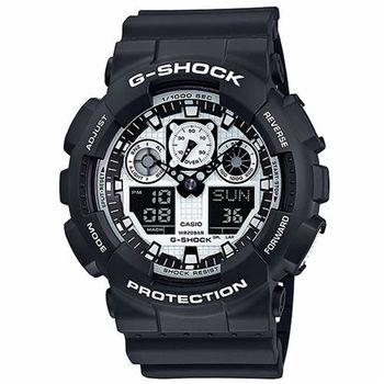 G-SHOCK 金屬感Man酷炫重型機械運動錶 GA-100BW-1A