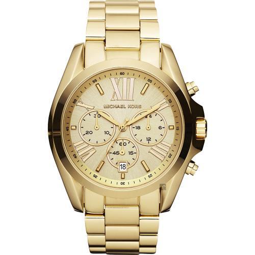 Michael Kors 羅馬假期三眼計時腕錶-金 MK5605
