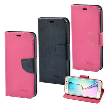 【Topbao】Samsung Galaxy S6 時尚雙色輕盈側立磁扣插卡TPU保護皮套
