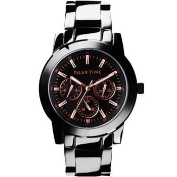 Relax Time 時尚達人日曆顯示腕錶-IP黑x玫塊金時標/42mm R0800-16-10X