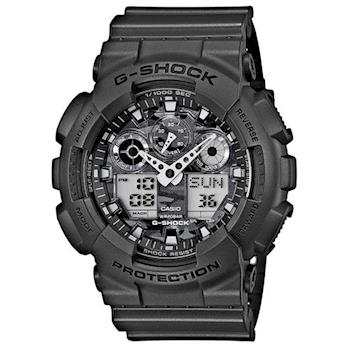 【CASIO】G-SHOCK 超人氣軍事戰魂新迷彩雙顯錶 (GA-100CF-8A)