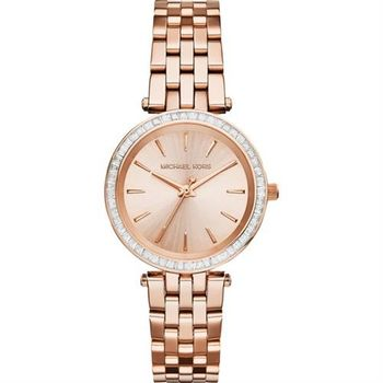 Michael Kors 閃耀方型晶鑽都會時尚腕錶-玫瑰金 MK3366