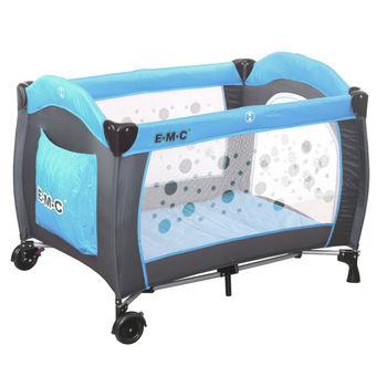EMC 嬰幼兒安全遊戲床(平安藍) +雙層架+ 尿布台