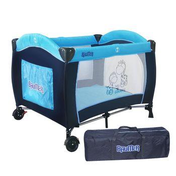 BAUMER寶盟 親子鹿遊戲床-水藍(附雙層架/尿布台/蚊帳)