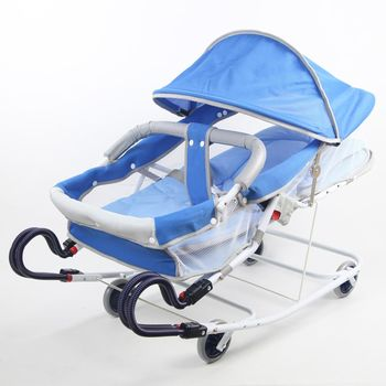 Babybabe 坐躺兩用雙管加寬型彈搖床(天空藍)-附蚊帳