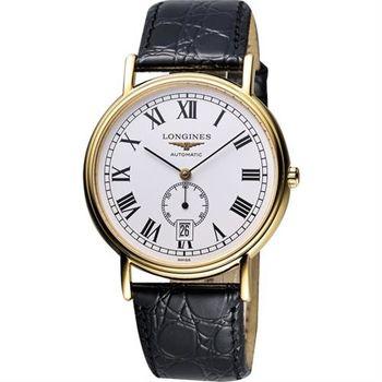 LONGINES Presence 經典小秒針機械腕錶-白x金框/38.5mm L48052112