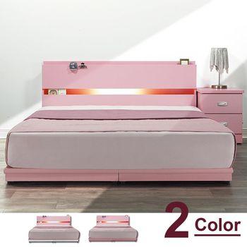 【時尚屋】[5U7]民宿風5尺床箱型雙人床5U7-72505+78-025二色可選/不含床頭櫃-床墊