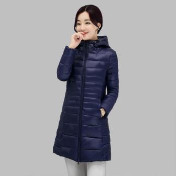 【A3】韓版修身-顯瘦輕量級羽絨棉大衣 ( 灰/玫紅 / 黑 / 藍 )4色選 M~XXL 預+現