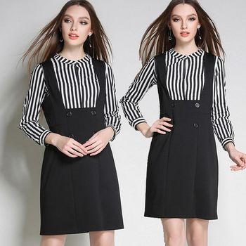 【麗質達人中大碼】HN3100上衣+吊帶裙兩件套洋裝(L-5XL)