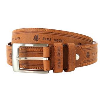 【SINA COVA】老船長雙線LOGO壓紋牛皮休閒皮帶 SC2184-5棕