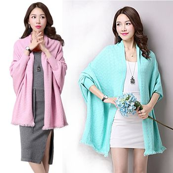 【A3】氣質佳人 超微細羊毛披肩外套 ( 灰 / 粉 / 天藍 ) 3色選