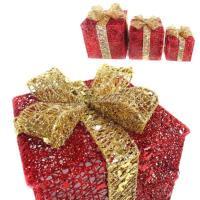 聖誕紅金系金蔥禮物盒擺飾(一組含大中小三入)(可置於聖誕樹下或溫暖角落)