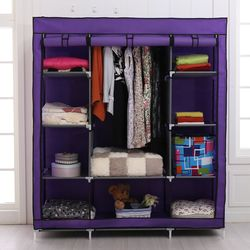 特大三排加寬簡易DIY防塵衣櫃衣櫥145x45x175cm(多色可選)
