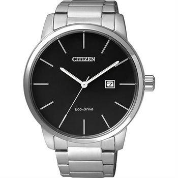 CITIZEN Eco-Drive 光動能都會腕錶-黑x銀/43mm BM6960-56E