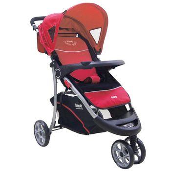 EMC 歐式豪華三輪嬰兒推車(熱情紅)附蚊帳雨罩