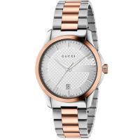 GUCCI 古馳 G-Timeless 菱格紋時尚腕錶-銀x雙色/38mm YA126447