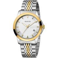GUCCI 古馳 G-Timeless 菱格紋時尚腕錶-銀x雙色/38mm YA126409