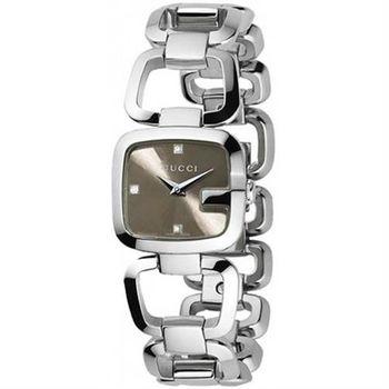 GUCCI G-Gucci 時尚晶鑽鍊帶錶-咖啡/22.5x24mm YA125503